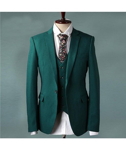 Brand New Green Groom Tuxedos Notch Lapel Side Vent Groomsmen Mens Wedding Dress Popular Man Jacket Blazer Suit(Jacket+Pants+Vest+Tie) 911