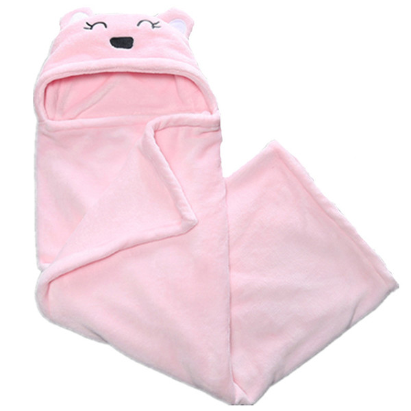 A00251 Pink Newborn blankets bear style hooded fleece warm infant's swaddle wrap baby parisarc sleeping bag