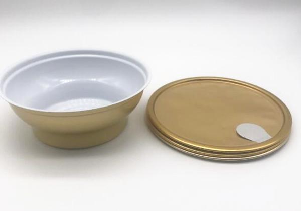 sigillo della macchina facile aprire lattine in alluminio a forma di scodella, lattine facili da strappare, lattine per l'imballaggio di alimenti per alimenti con linguetta da tirare oro 180ml