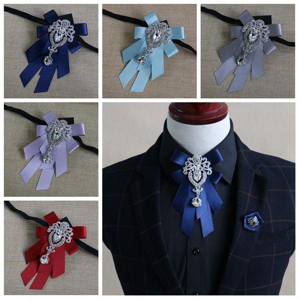 Männer Fliege Bräutigam Kleidung Zubehör Solid Color Gentleman Shirt Krawatte Bowknot Diamant Crystal Decor Hochzeitsgeschenk