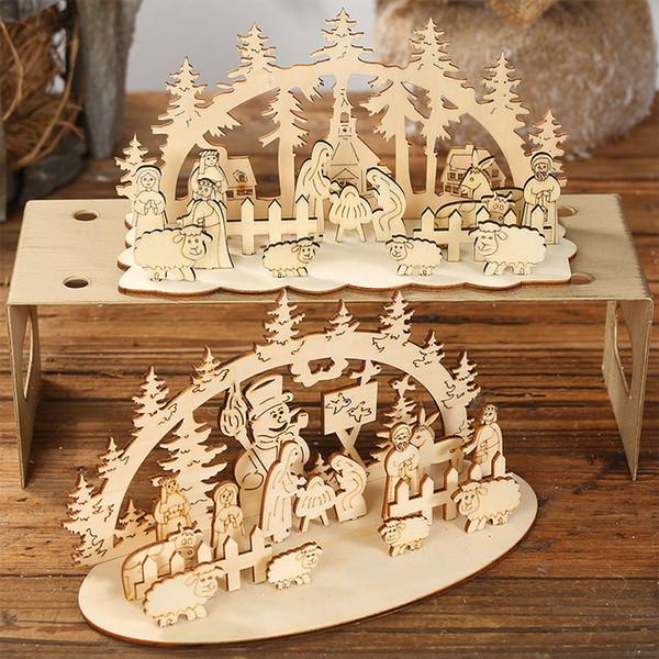 Fournitures de Noël feuille en bois bricolage ornement carré / cône base ronde sculpture en bois bonhomme de neige arbre moutons décorations pour la maison