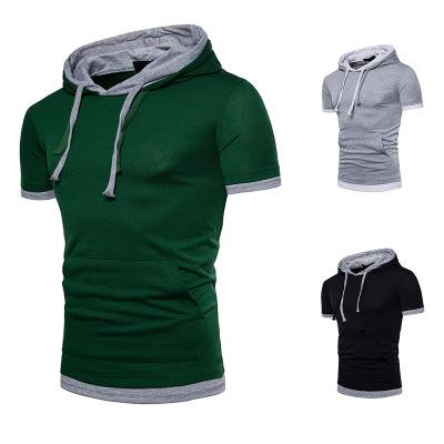 Eur Fashion Large Size Flase Two Hooded Longline Top Summer Sportwear Patchwork Design Male Solid Loose T Shirt Clothes
