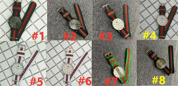 top popular 2019 Luxury Stripe Watches Quartz Nylon Strap Watch Casual Men Women Ribbon Black Complex Colorful Wristwatch Military Unisex Watch B82703 2020