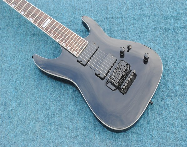 top popular Free Shipping,2018 New Arrival TOP Quality Black 7 Strings LTD Electric Guitar,Black Hardware Electric Guitar,Real Photos Showing 2020