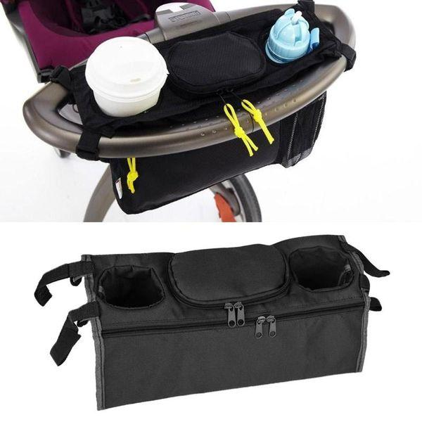 Cochecito de bebé de venta caliente para acomodar bolsa colgante bandeja montada en la parte trasera bolsa colgando taza botella mamá