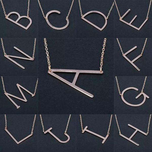 26 Alphabet Anglais Lettre Pendentif Dame Collier En Métal A-Z Choker Chaîne Colliers Sliver Or Bijoux Cadeau D0370