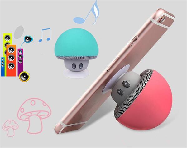 Wireless Mini Bluetooth Speaker USB Silicone sucker Bracket Stereo Microphone Portable Mushroom Music Player Loudspeaker for Mobile Phone