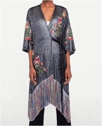 wishbop 2019 summer fashion floral embroidered and sequinned wrap kimono dress with tied belt v-neck half sleeves tassels hem