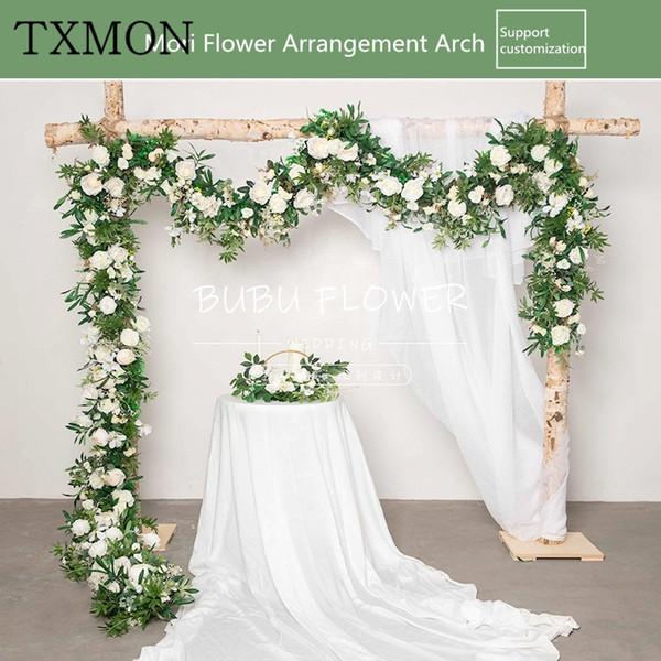 Wedding flower row flowers irregular forest arch floral set wedding arrangement decoration stage background artificial flower