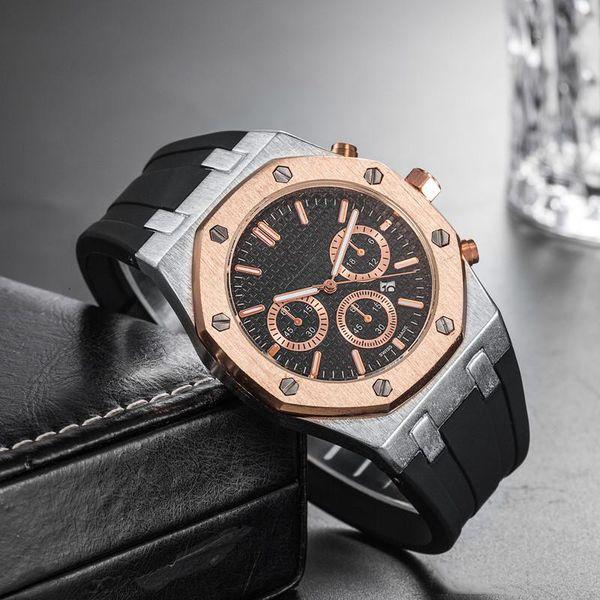 Preço barato por atacado Mens Luxo Esporte Relógio De Pulso 45mm Movimento De Quartzo Relógio Masculino Relógio de Tempo com Banda De Borracha offshore