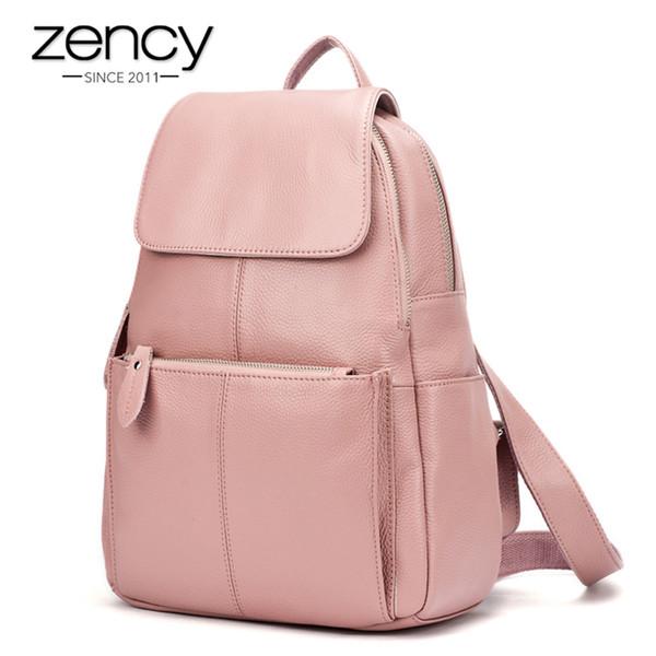 Compre Zency es 100% Mujeres Del Cuero Genuino De Viaje Mochila Moda Para Mujer Bolsa De Muy Buen Gusto Schoolbags Para Niñas Mochila Portátil A