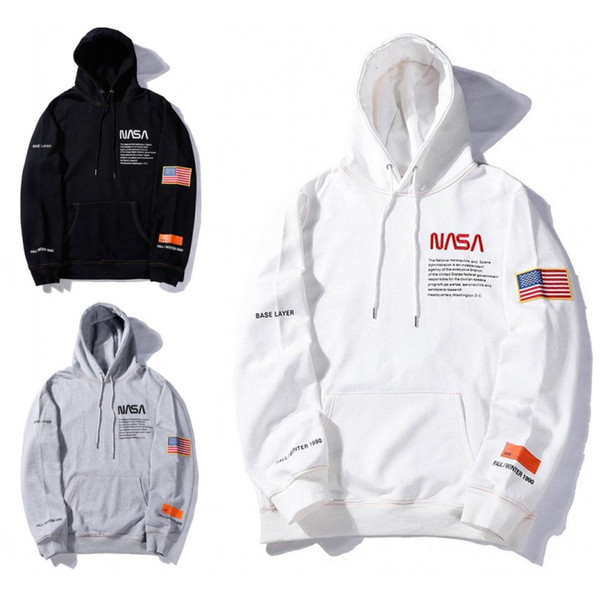 top popular NASA Hoodie Hip Hop Heron Preston Mens Designer Hoodies Fashion Pullover Sweatshirt 5 Colors Size S-XL 2019