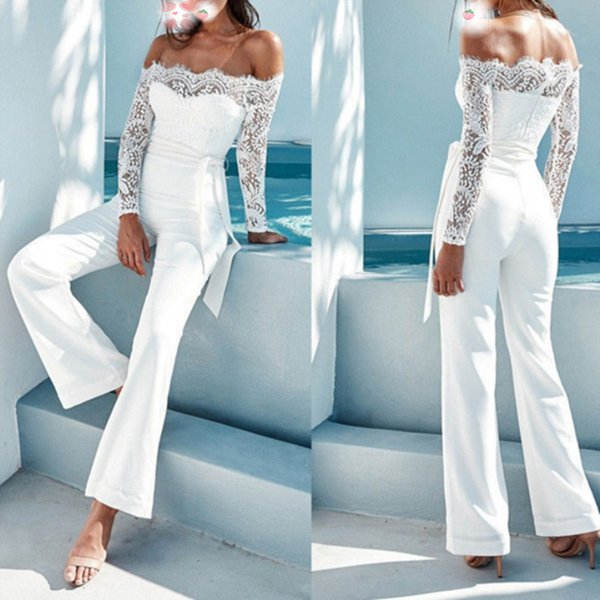 High Street Fashion Jumpsuit Women 2019 Slim Thin Material Lace Jumpsuit Ladies Elegant Overall Jumpsuits White Black BodySuits