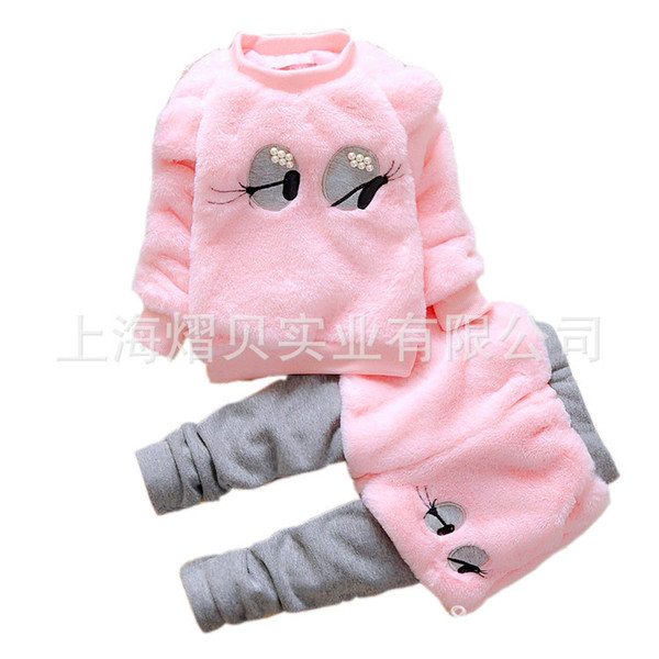 Children's winter clothes cotton velvet thicken Girls Clothes Sets Cotton Tracksuit For Kids Outfit Suits Children Clothing