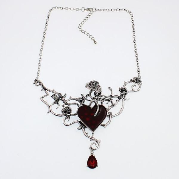 Encanto do coração flor forma Alloy Colar Pingente Classical Collar Rose esmaltado Coração gótico para as Mulheres Halloween Jóias