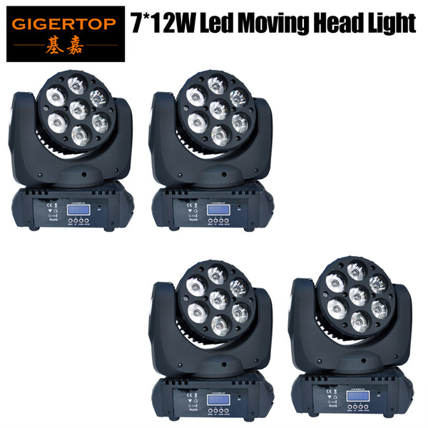 top popular TP-L641 4pcs lot 7x12W RGBW 4IN1 High Quality LED Moving Head Light Beam Moving Head Light 15 DMX Channels Led Stage Light Led Projector 2021