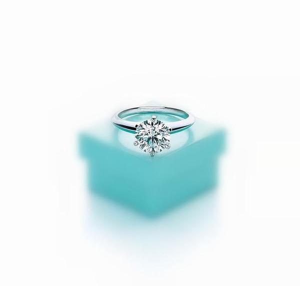 2019 Anillo de lujo de alta calidad con seis garras de 1-3 quilates y diamantes con logo T 925sterling anillos de plata pareja casan compromiso de boda con caja