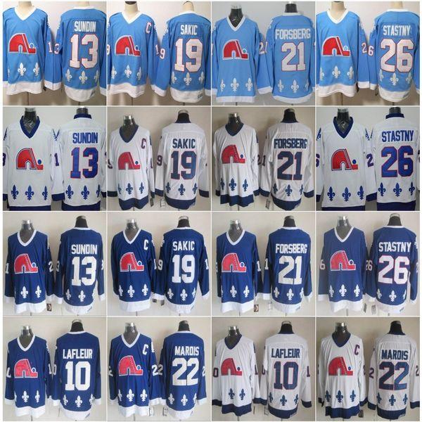 Quebec Nordiques Winter Classic Men 10 Guy Lafleur 13 Mats Sundin 19 Joe Sakic 21 Peter Forsberg 26 Peter Stastny Eishockey-Trikots Blau