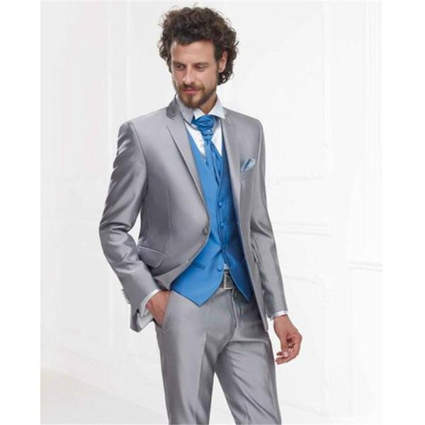 Custom Made New Silver Grey Satin Formal Men Suit Slim Fit Classic Blazer Prom Custom 3 Piece mens suits (Jacket+Pants+Vest)