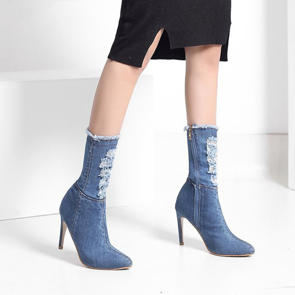 youyedian women's boots light blue and dark blue fashion casual spring/autumn platform boots high heels women#g20