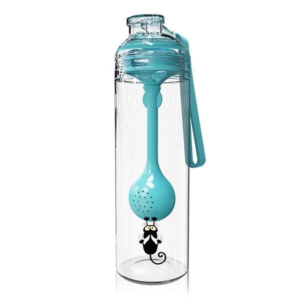 Portable Sports Drinking Water Bottle With Multi-Function Spoon Sealing Leak-Proof, Strong And Fall-Proof For Kids Adults