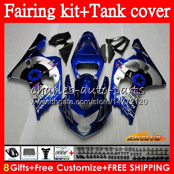 Кузов + бак для SUZUKI GSX R750 GSXR600 GSXR600 600cc 04 05 66HC.42 GSXR750 GSXR 750 600 CC K4 750cc GSXR750 2004 2005 Обтекатель синий серебристый