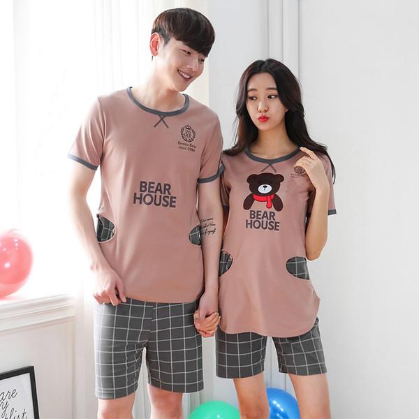 Free Shipping 2018 New Lover Set Summer Short Sleeved Women Pijamas Men Pajamas Sleepwear Suit Adult Pijama Korea Style C19040901