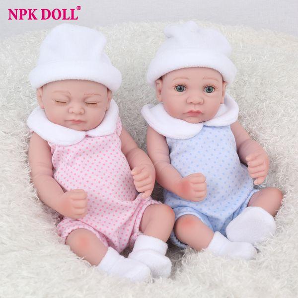 wholesale 25cm Doll Full Silicone Reborn Baby Dolls Bebe Alive Lifelike Mini Twins Real Dolls Realistic Toys Bath Playmate Gift