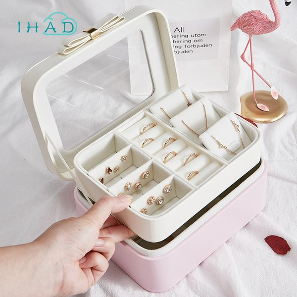New Jewelry Storage Box Sweet 2-layer Visual Ring Necklace Earring Organizer Box Travel Jewelry Storage Cases with Bead velvet