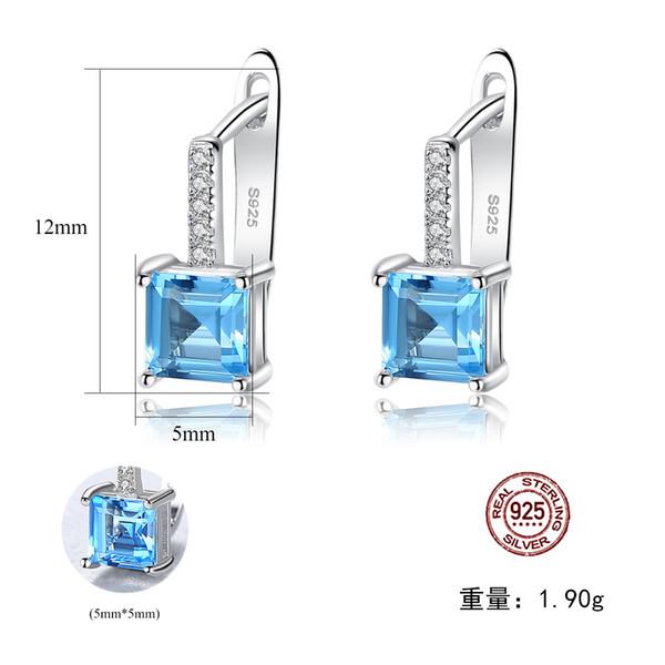 Gioielli da orecchio in argento Topaz S925 PAGMAG con topazio blu cielo
