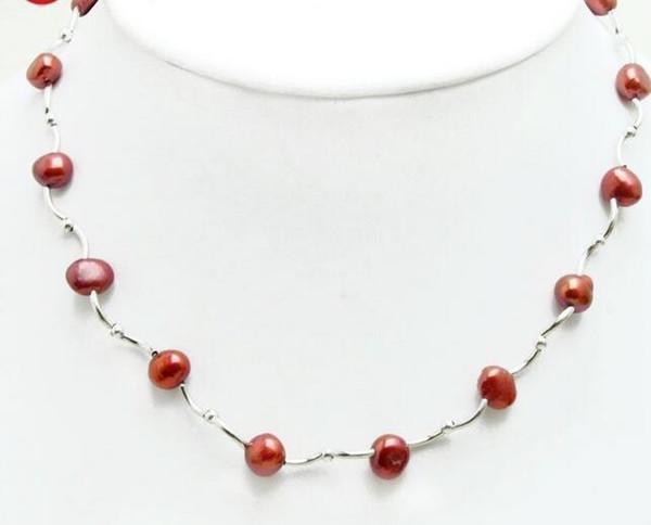 Schwimmende 8-9mm rote natürliche barocke Perlenkette für Frauen Schmuck 17 ''