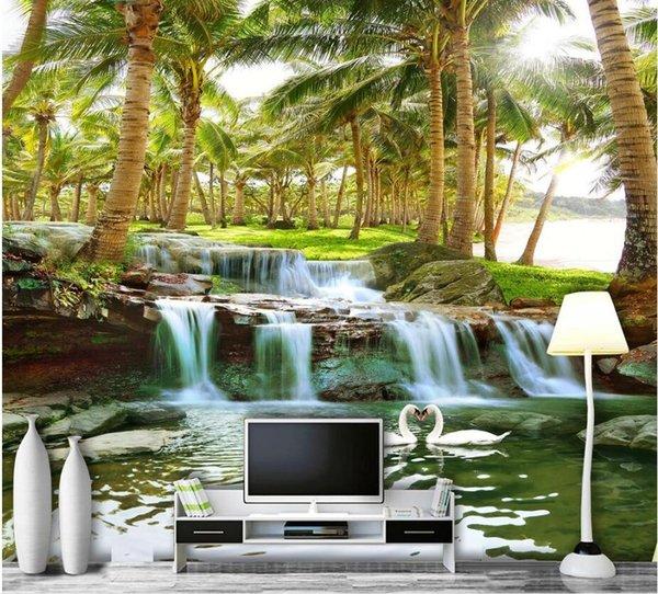 WDBH 3d fototapete custom mural kokospalme wald wasser wasserfall landschaftsmalerei wohnkultur wohnzimmer tapete für wände 3 d