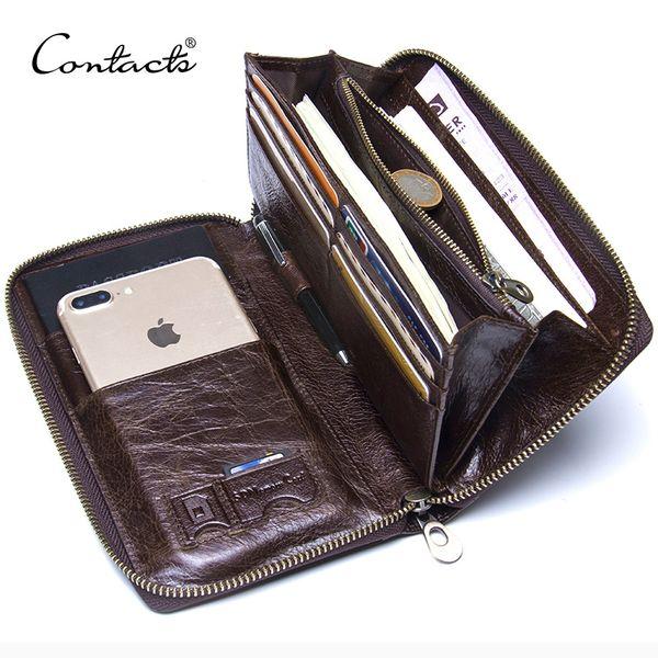 "Genuine Leather Men Clutch Wallet Brand Male Card Holder Long Zipper Around Travel Purse With Passport Holder 6.5"" Phone Case Y19062003"