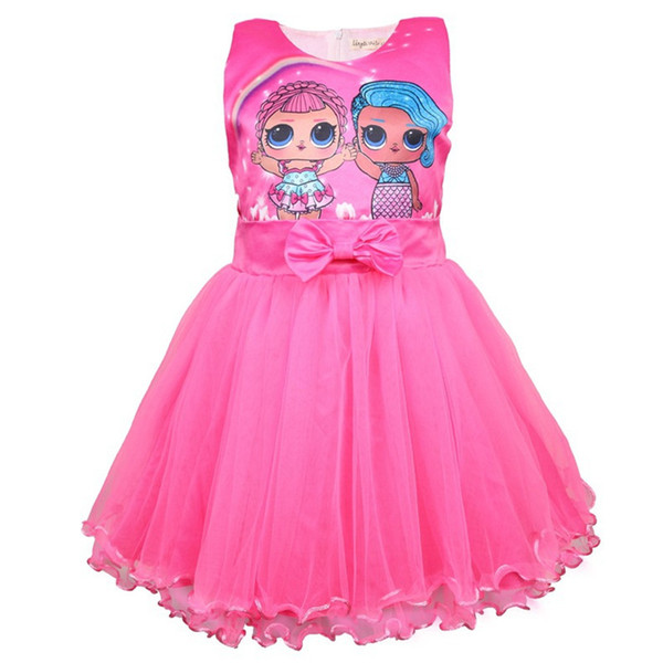 Surprise Girls Dresses Baby Girl Cartoon Clothes Kids Boutique Princess Dress Summer Tulle Bow Ball Gown Children Clothing sale C3155