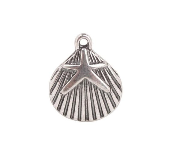 50PCS Antiqued Silver Starfish Shell Charms Pendant Making For European Men Women Jewelry Necklace Bracelet Earrings Accessories