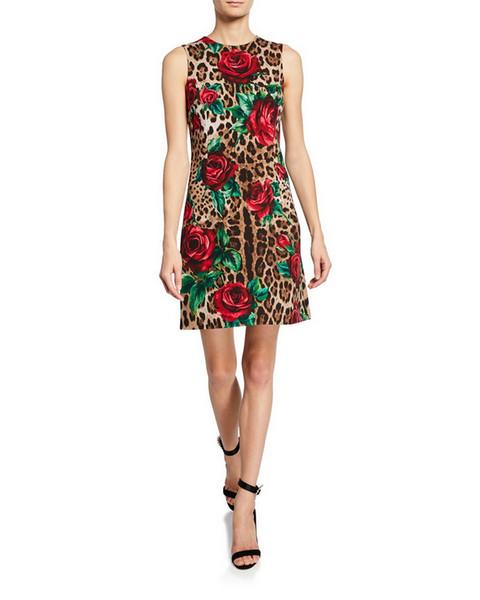Diseñador de gama alta 2019 Vestido sin mangas con estampado de leopardo rojo para mujeres Milan Runway Roses Lentejuelas Vestidos De Festa Tanks Dress yy-15