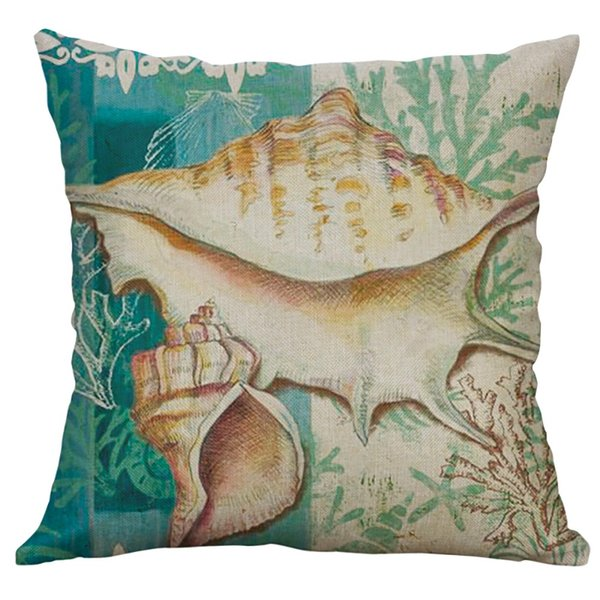 New Marine Life Turtle Conch Shell Cushion Cover Pillow Cover Square Linen Pillow Cases W610
