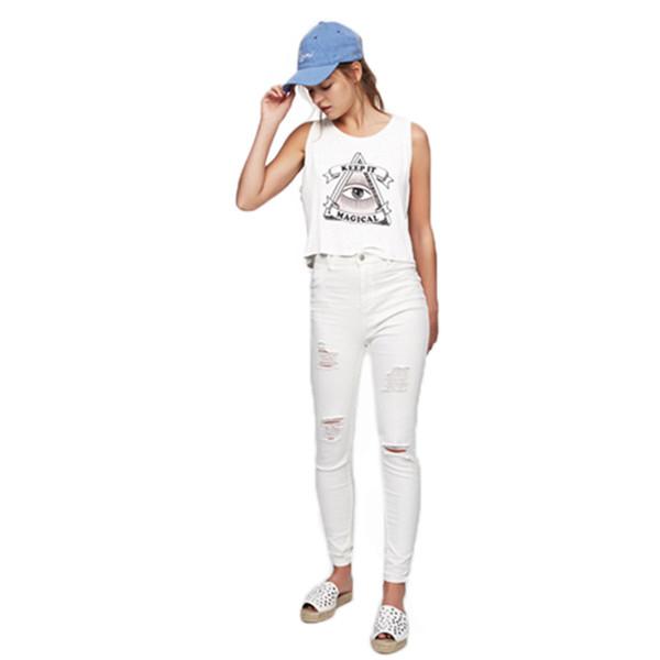 2019 Womens Designer T Shirt Olho Curto Impresso Solto Knit Vest Feminino Estudante de Verão Sem Mangas Casual T Shirt Atacado