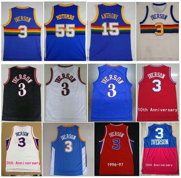 best selling Best Quality Vintage 55# Dikembe Mutombo Jersey Carmelo 15 Anthony Shirts 3# Allen Iverson Jersey Men College Georgetown Hoyas Jerseys S-XXL
