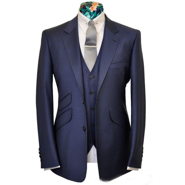 Navy Blue Groom Wedding Tuxedos Notch Lapel Slim Fit Two Button 2 Piece Suit Fashion Men Business Prom Party Pants Suits (Jacket+Vest)