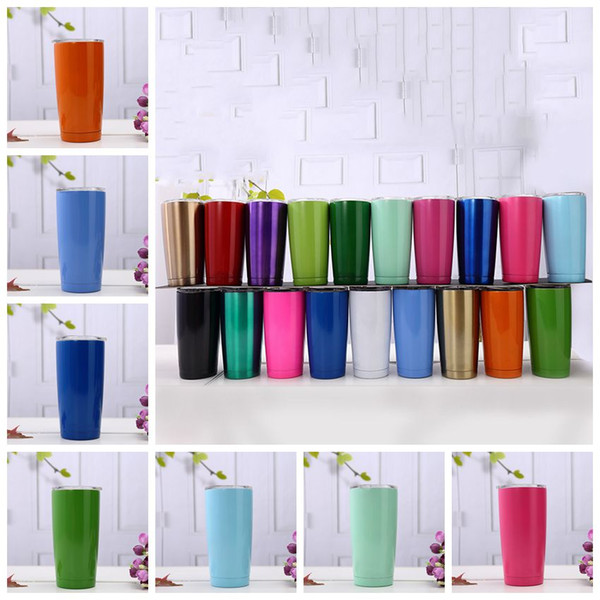 top popular 20oz Beer Cups Stainless Steel Car Mugs Large Capacity Double Layer Sports Mugs With lid Baby Feeding Mugs 19 Colors CCA11766-A 20pcs 2021