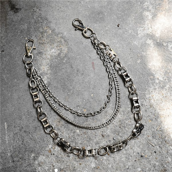 Metal 3 Layers Ring Rock Punk Key Chains Clip Hip Hop Jewelry Pants KeyChain Wallet Chain Waist Chains Belt Biker Link Jeans Accessories