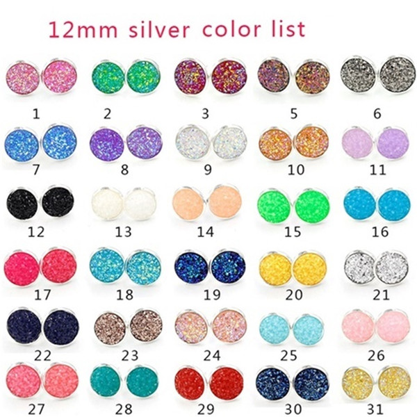 best selling Designer 12mm Resin Scale & Druzy Drusy Earrings Silver Gold plated Round stainless steel Handmade Stud for Women Jewelry