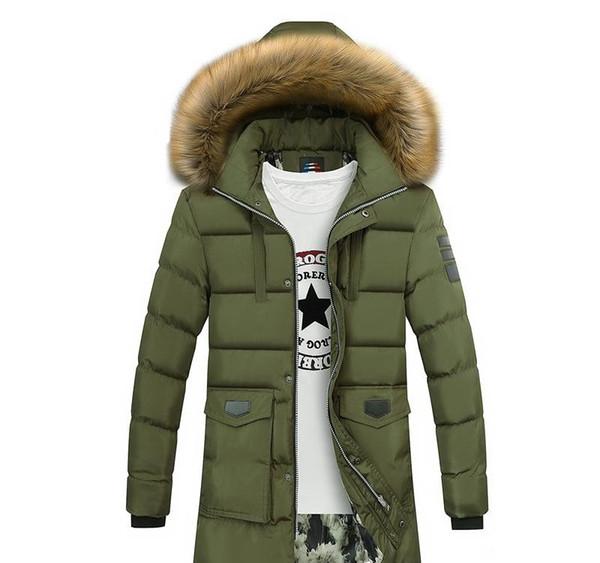 Мода-сгущает теплая зима утка вниз куртка для мужчин меховой воротник ветровки с капюшоном пальто Плюс Размер Шинель Western Style