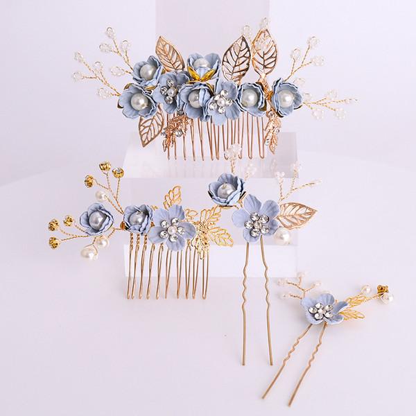 Blue Color Flower Hair Comb Bridal Head Ornaments Pearl Rhinestone Wedding Hair Accessories Hairband Bride's Tiaras Hair Jewelry