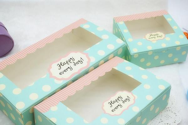 Ретро синяя точка торт коробка макарон лунный торт конфеты шоколад упаковка коробка с прозрачным окном для партии пользу wen5718 20180920#