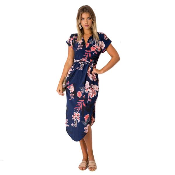 Summer Dress Women 2019 Sexy V -section Print Short Wrap Midi Plus Size Dress Robe Femme Vestidos Y19071101