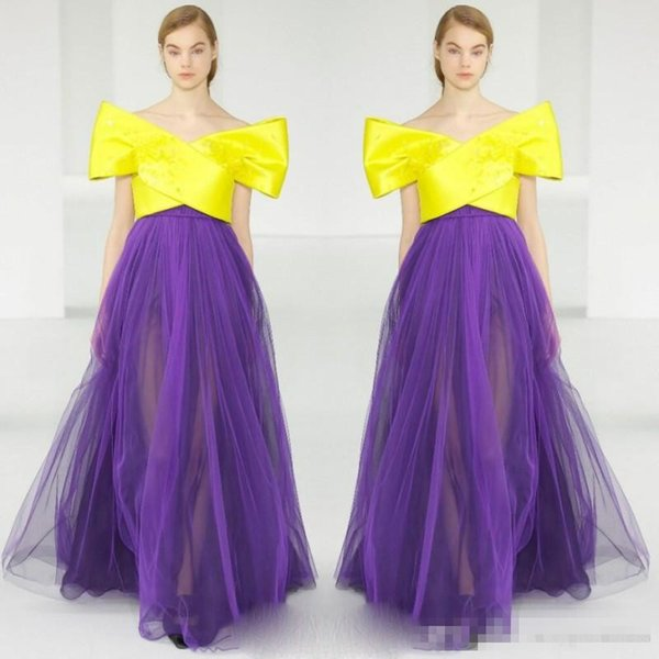 Runway Fashion Evening Gowns Bright Yellow And Purple Tulle skirt Prom Dresses Off Shoulder Satin Arabic Women Formal Wear Custom Made