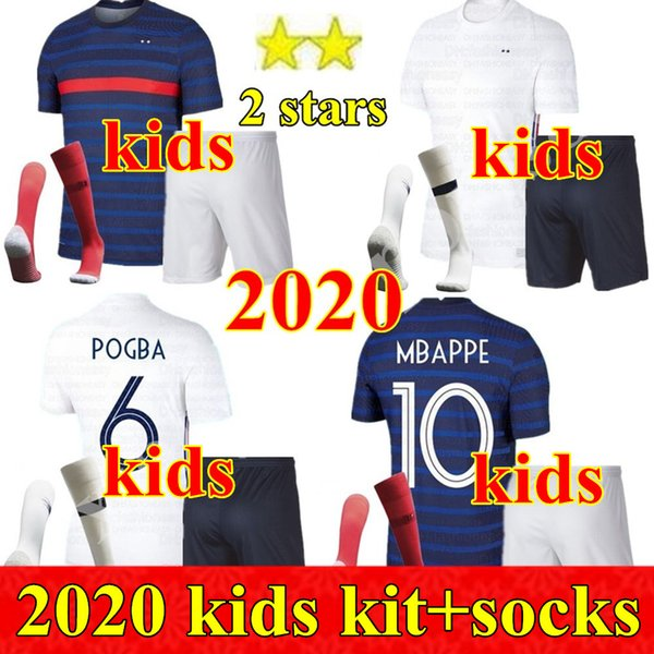 best selling 2020 France Boys Chandal Maillot de Foot francia enfant kids kit 2 stars GRIEZMANN KANTE MBAPPE POGBA franca football French Soccer Jerseys