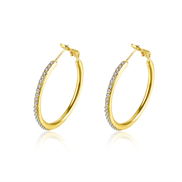 American Style Earring Empty Circle Mosaic Crystal Hoop And Huggie Earring Accessories Classic Generous Designed Anniversary Gifts POTALA085